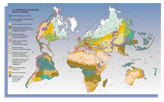Les réserves de biosphère dans le monde - copyright Unesco