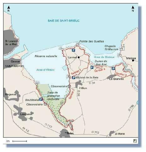 Carte de la réserve naturelle de la baie de Saint-Brieuc, Bretagne, France.