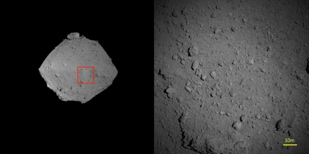À droite : agrandissement de la zone encadrée en rouge sur la photo de gauche. Cliché pris avec la caméra ONC-T, à environ 1.000 m d'altitude, le 7 août 2018. © Jaxa