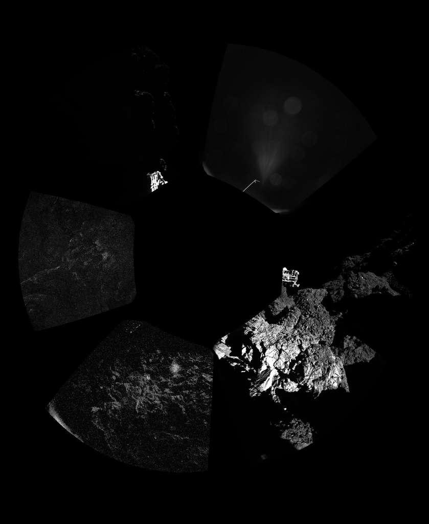 Une mosaïque d'images formant un panorama autour de Philae. C'est cela une comète... © ESA/Rosetta/Philae/CIVA