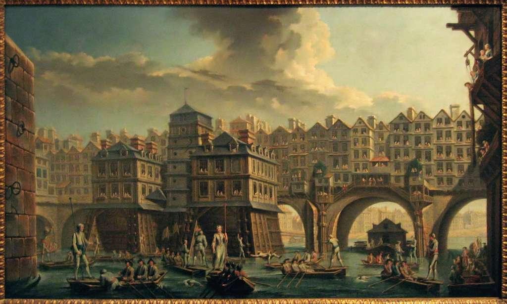 Tableau La joute des mariniers par Nicolas Raguenet en 1756, (la scène se situe entre le pont Notre-Dame et le pont-au-Change). Musée Carnavalet, Paris. © Wikimedia Commons, domaine public