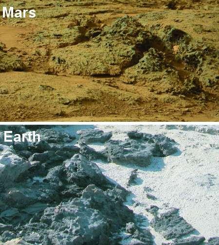 En bas, structures rocheuses érodées par des colonies microbiennes à Carbla Point, en Australie occidentale. En haut, roches martiennes photographiées par Curiosity, présentant des caractéristiques similaires. © Nasa, Nora Noffke