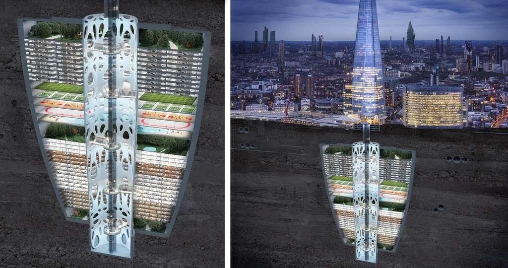 Nous vivrons sous terre dans des gratte-ciels inversés disposant de jardins, d'espaces de travail et de terrains de sport. © Samsung KX50 report
