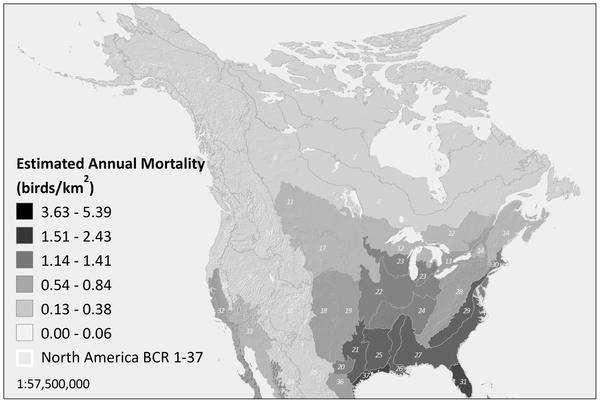 La mortalité annuelle estimée chez les oiseaux par les auteurs de l'étude pour cause de choc avec une tour portant des antennes radio, en oiseaux/km2 (birds/km2). On remarque un gradient est-ouest. © Longcore et al./Plos One