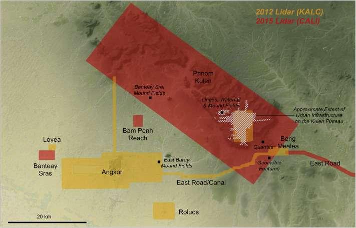 Les zones étudiées par Lidar à proximité d'Angkor en 2012 (en jaune) et en 2015 (en rouge). Les résultats de cette seconde exploration viennent d'être publiés, révélant l'ampleur des agglomérations réunies ici au temps de l'Empire khmer. (Cliquez sur l'image pour l'agrandir.) © Damian, Journal of Archaeological Science