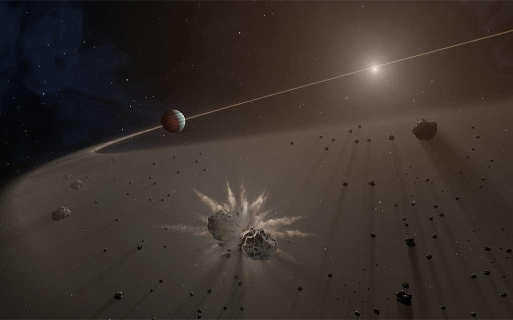 Une vue d'artiste de Jupiter au début de l'histoire du Système solaire. Sa formation a laissé une région appauvrie en gaz et matière dans le disque protoplanétaire. Au-delà du bord externe de cette région, des planétésimaux existaient encore et entraient en collision. © Nasa