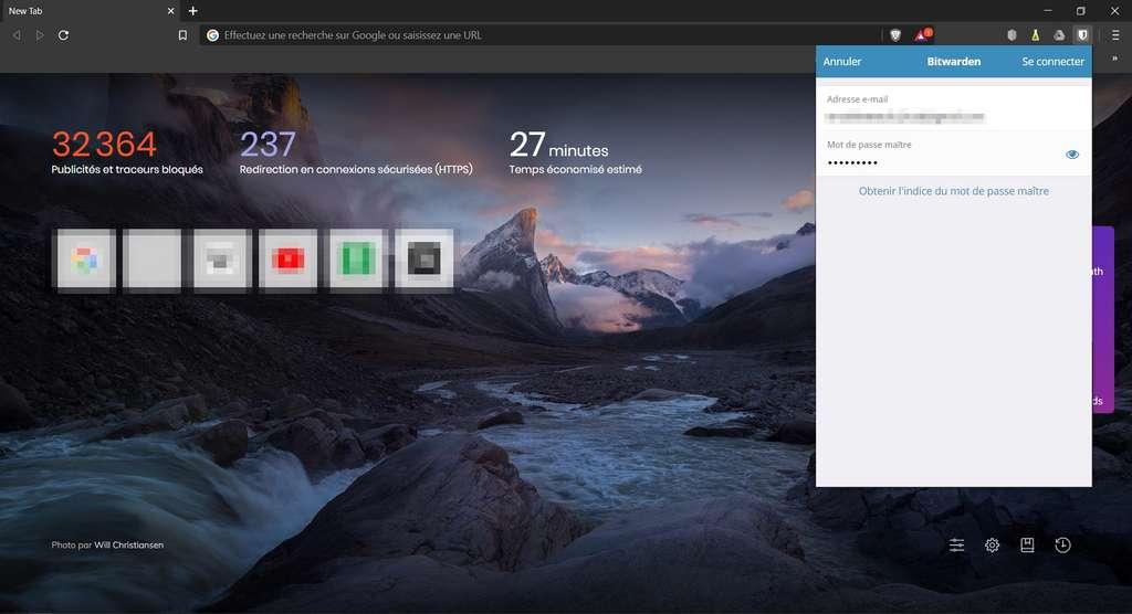Connexion à l'extension de navigateur Bitwarden © 8bit Solutions LLC