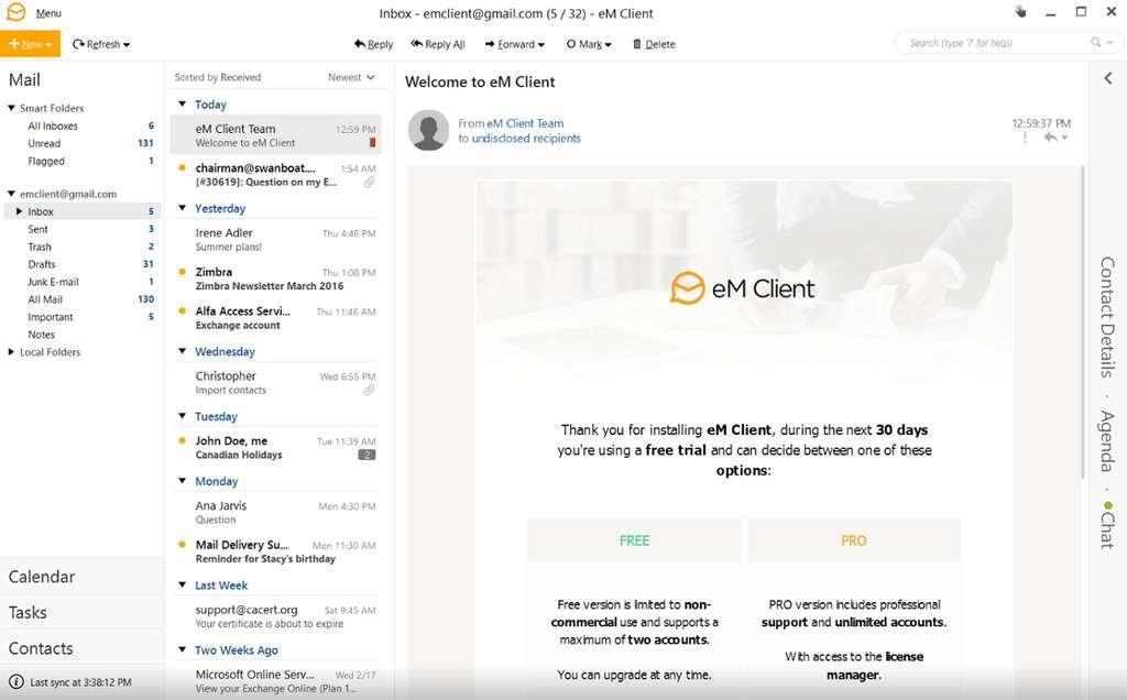 eM Client procure un net gain de productivité. © eM Client