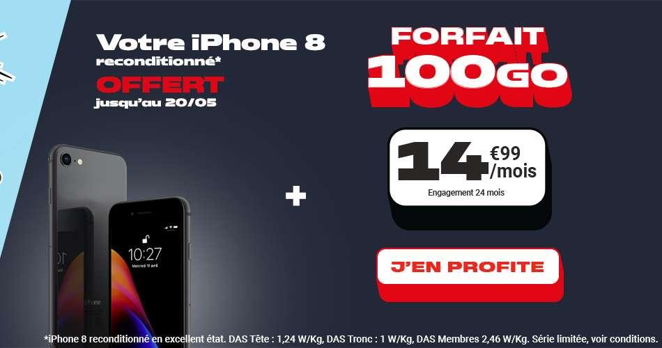Un Iphone 8 offert pour toute souscription au forfait 100Go à seulement 14,99€ /mois par mois © NRJ Mobile