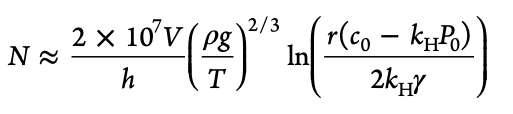 Nombre total N de bulles ascendantes susceptibles de se former dans un verre. V = volume de boisson dans le verre ; h = distance entre les sites de nucléation des bulles et l'interface liquide/air ; kH est la constante de Henry ; T est la température en Kelvins, c est la concentration en CO2 dans le liquide. © ACS Omega 2021, 6, 14, 9672-9679
