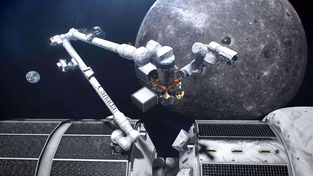 Vue d'artiste du concept du Canadarm3, le système robotisé intelligent canadien qui se trouvera sur le Gateway. © Agence spatiale canadienne