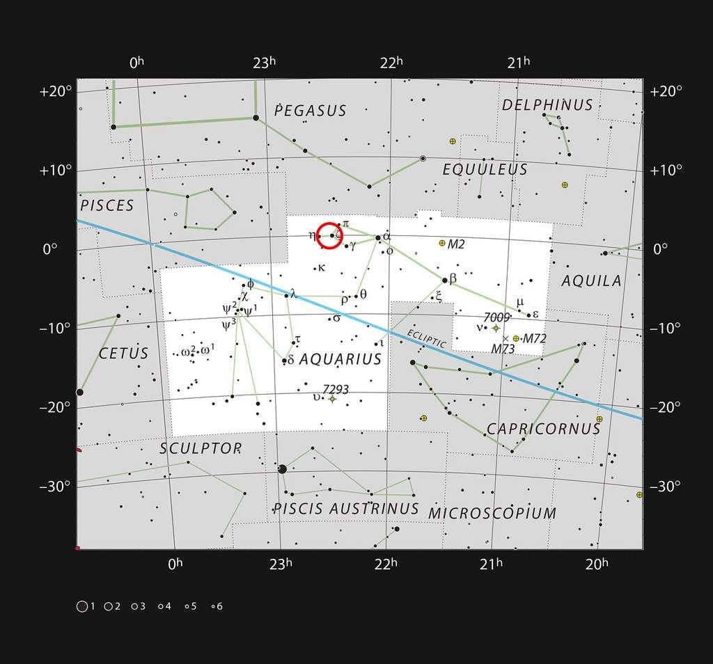 Sur cette carte figure la localisation de la galaxie naine de Kinman, dont une mystérieuse étoile variable bleue lumineuse a disparu. La plupart des étoiles visibles à l'œil nu dans de bonnes conditions d'observation sont représentées, et le système étudié est entouré d'un cercle de couleur rouge. © ESO, IAU and Sky & Telescope