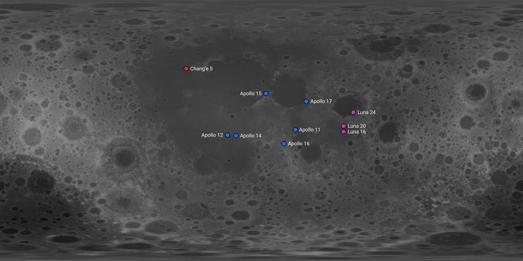 Carte indiquant la localisation des différentes missions et les sites d'échantillonnage. © Kaynouky, Wikimedia Commons, CC by-sa 4.0