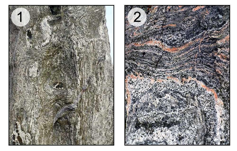 En 1, gneiss, roche tourmentée. En 2, microtectonique. © Claire König, DR