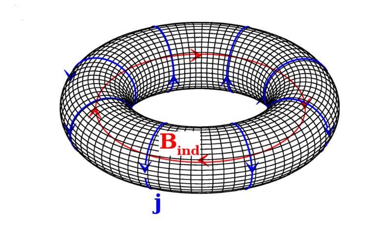 Un anapole magnétique peut être modélisé par un solénoïde fermé. Des courants « j » représentés en bleu sur ce schéma génèrent des champs magnétiques « B » (en rouge), confinés à l'intérieur du tore. Des anapoles ont été observés dans les noyaux césium 133 et ytterbium 174 ainsi qu'en physique du solide. © HoferAnderl, Wikipédia