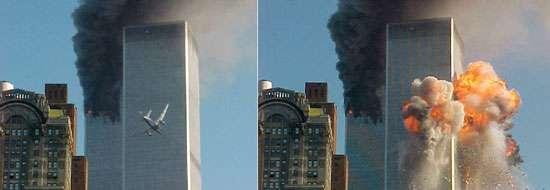 """Les attentats suicides tel celui sur le World Trade Center le 11 septembre 2001 mettent en exergue l'impuissance du réseau Echelon à contenir les actions terroristes perpétrées sur son propre territoire. A priori loin de la """"vieille Europe"""" et à l'abri des conflits du Moyen-Orient, Echelon a sous-estimé l'évolution technologique et la menace terroriste. © Doc WGRZ."""