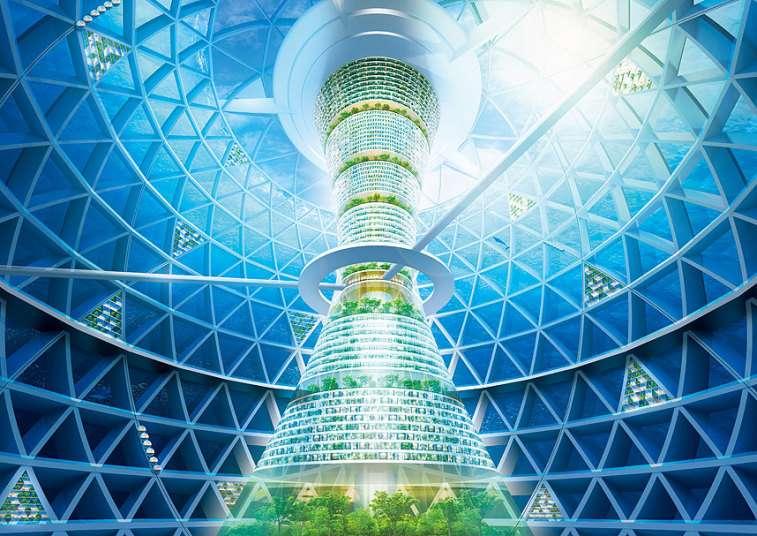 L'intérieur de la sphère d'habitation, qui pourrait faire vivre 4.000 personnes. Les hôtels occupent la partie supérieure de la structure centrale. La zone médiane regroupe les bureaux. Dessous se trouvent les appartements et, tout en bas, les laboratoires de recherche scientifique. © Shimizu