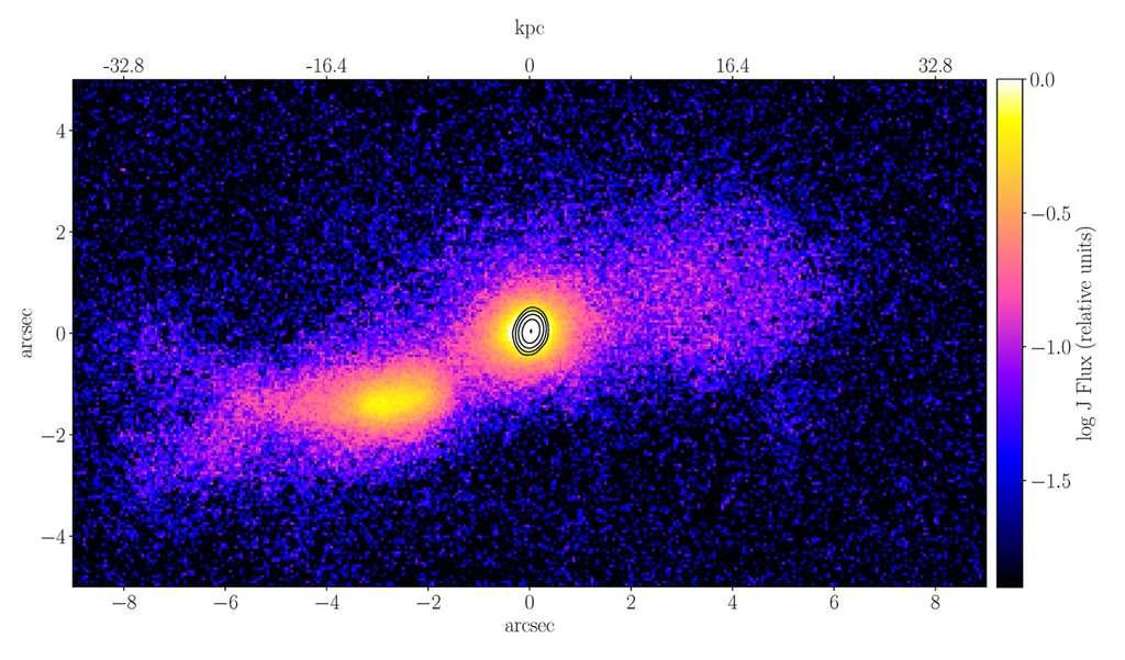 La galaxie Seyfert 1, TXS 2116-077, (vue de droite) entre en collision avec une autre galaxie en forme de spirale de masse similaire, créant un jet relativiste au centre du TXS. Les deux galaxies ont des noyaux galactiques actifs (AGN). © Courtesy Vaidehi Paliya