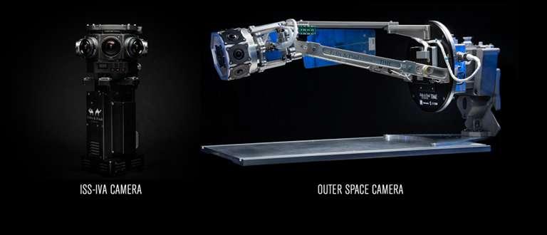 Les caméras utilisées pour filmer en 360° stéréoscopique. À gauche, celle utilisée à bord de l'ISS ; à droite, celle utilisée dans l'espace. © Felix & Paul Studios