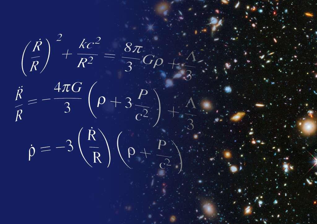 Les équations d'Einstein pour la cosmologie du modèle standard contiennent un terme décrivant une énergie particulière dans l'univers. L'étude des galaxies a montré que ce terme existait bien, il s'agit de l'énergie noire qui accélère l'expansion du cosmos depuis quelques milliards d'années. © Shane L. Larson