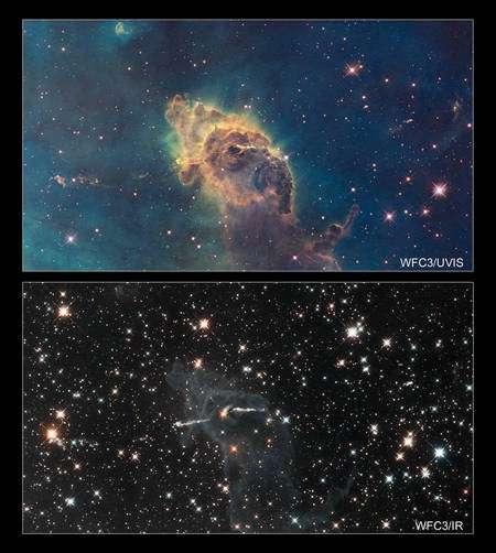 Cliquer pour agrandir. La nébuleuse de la Carène située à 7.500 années-lumière n'a pas le même aspect selon qu'on l'observe dans l'ultraviolet et le visible (en haut) ou dans l'infrarouge (en bas). On voit clairement dans la dernière image des jets de matière longs de dix années-lumière émis par une jeune étoile au centre grâce à la nouvelle caméra WCF3. Crédit : NASA, ESA, Hubble SM4 ERO Team