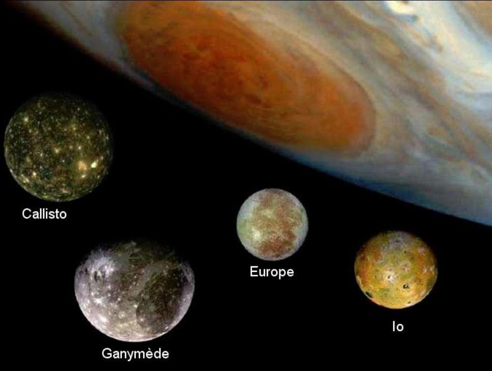 Les quatre satellites galiléens vus par les sondes Voyager. © Nasa