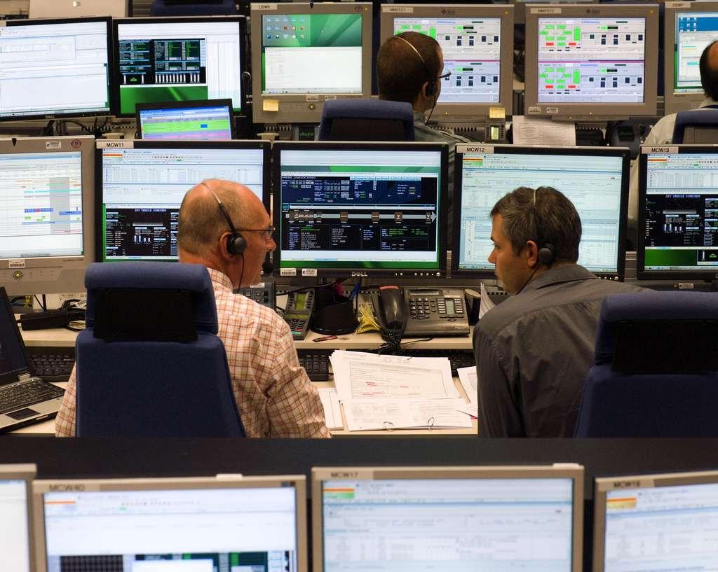 Ambiance dans la salle de contrôle ATV-CC pour la mission ATV-2. © Cnes