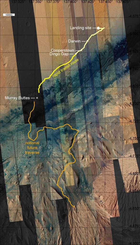Le périple de Curiosity tracé sur les images acquises avec la caméra HiRise de la sonde spatiale Mars Reconnaissance Orbiter (MRO). Le rover, qui a parcouru 4,97 kilomètres depuis son arrivée le 6 août 2012, a franchi avec succès le passage de Dingo Gap. La base du mont Sharp est à environ cinq kilomètres. © Nasa, JPL, MSSS, University of Arizona, Emily Lakdawalla