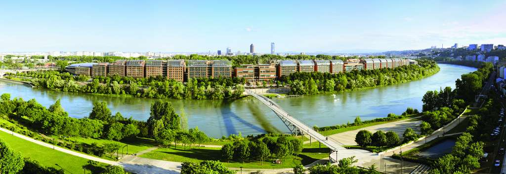 Vue générale de la Cité internationale de Lyon. Elle abrite entre autres le Centre de congrès qui offre un espace modulable de 24.000 m². © Nicolas Robin