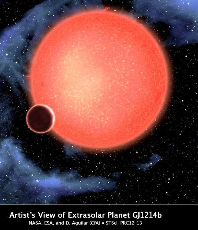 Une vue d'artiste de GJ 1214 b orbitant très près de sa naine rouge. © Nasa, Esa et D. Aguilar (Harvard-Smithsonian Center for Astrophysics)
