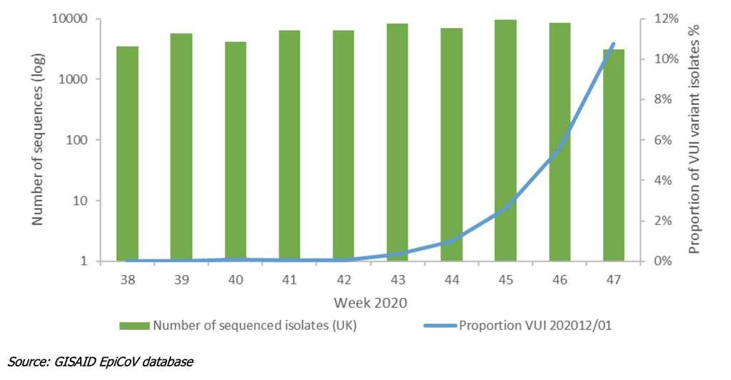 Depuis la semaine 43 (19 octobre 2020), le variant VUI 202012/01 a été de plus en plus isolé. © Gisaid EpiCoV database, rapport du ECDC
