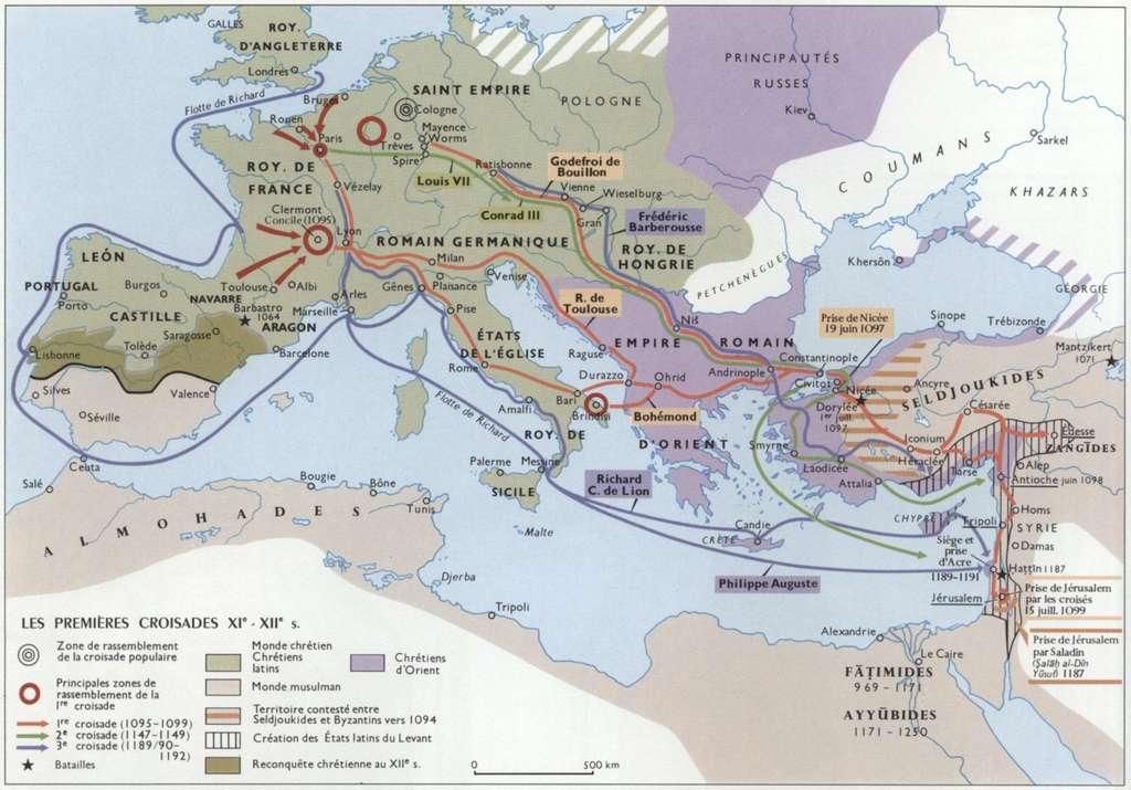 Rassemblement et déploiement des croisades. © Larousse encyclopédie.