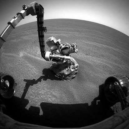 Fin novembre 2005, l'articulation de l'épaule d'Opportunity s'est bloquée (Crédits : NASA/JPL)