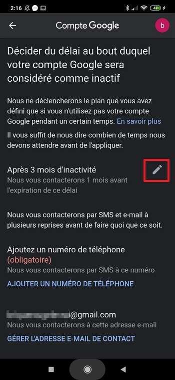 Appuyez sur l'icône si vous désirez changer le délai avant que le plan d'inactivité du compte ne se déclenche. © Xiaomi Corporation