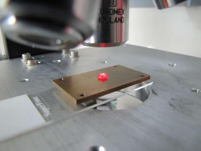 Sous l'effet d'un rayonnement laser, ce diamant synthétique devient fluorescent en raison de la présence d'atomes d'azote. Un tel diamant est adapté à la réalisation de mémoires pour les ordinateurs quantiques. © Institute of Atomic and Subatomic Physics, TU Wien