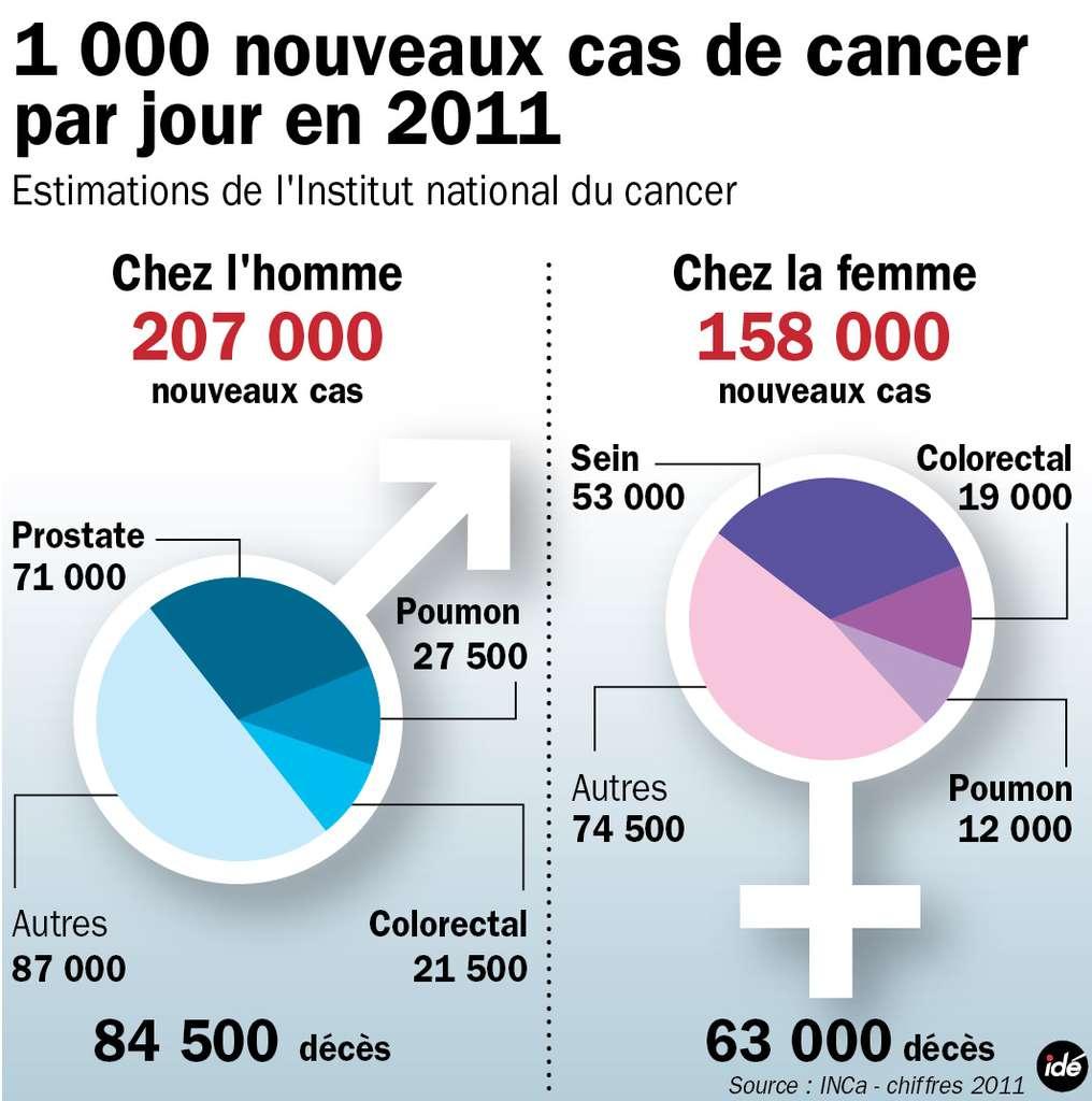 Près de 400.000 cancers ont été diagnostiqués en France en 2011 d'après l'Institut national du cancer (Inca) et un peu moins de 150.000 décès ont été comptabilisés. © Idé/INCA