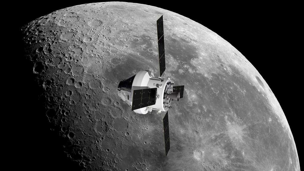 Vue d'artiste du véhicule Orion de la Nasa, dont le module de service sera fourni par l'Agence spatiale européenne. © Nasa, Esa, ATG Medialab