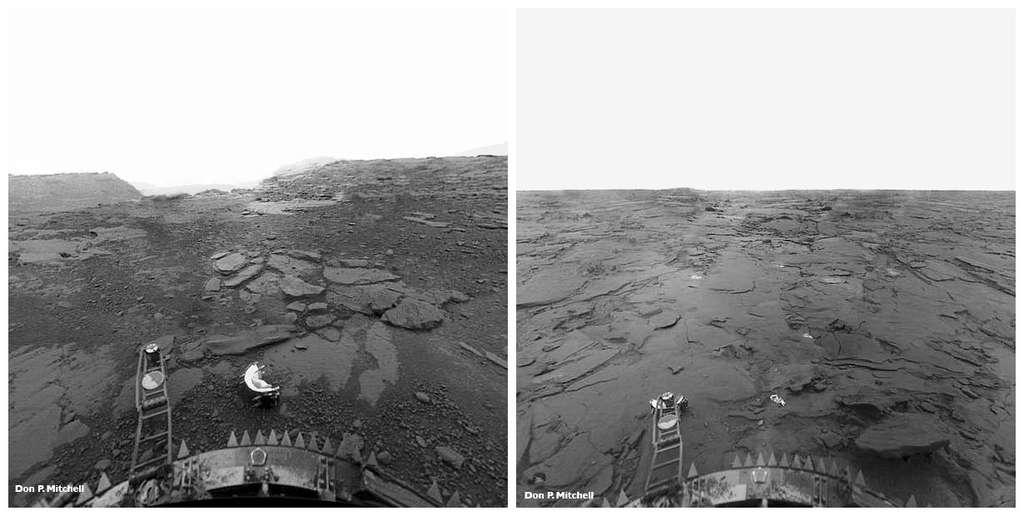 Des vues de la surface de Vénus prises par la sonde Venera 13. Elles montrent une planète dominée par le volcanisme. © Don P. Mitchell