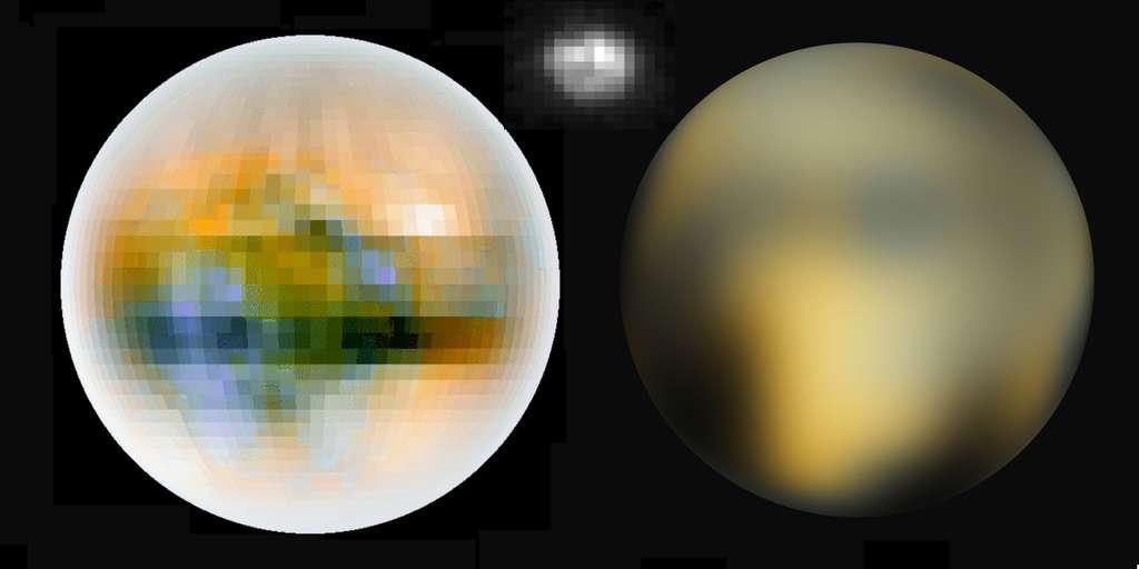 Des images du passé. À gauche, une cartographie réalisée en 2000 à partir de nombreuses données, dont celles de Hubble et celles venues des occultations de Pluton par Charon dans les années 1980. À droite, la meilleure représentation existant avant le survol, une cartographie réalisée grâce au nouvel instrument ACS installé par des astronautes sur le télescope spatial en 2002. La petite image en haut et au milieu est la photographie brute que Hubble donne de Pluton. Ces visions désormais préhistoriques permettent de mieux comprendre l'énormité de la montagne de données nouvelles que New Horizons est en train d'engranger. © Nasa / Eliot Young, Richard Binzel, Keenan Crane, 2000 / SwRi