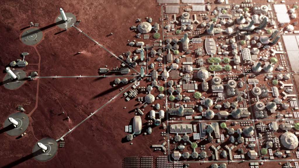 Une ville martienne telle que l'envisage Elon Musk. © SpaceX