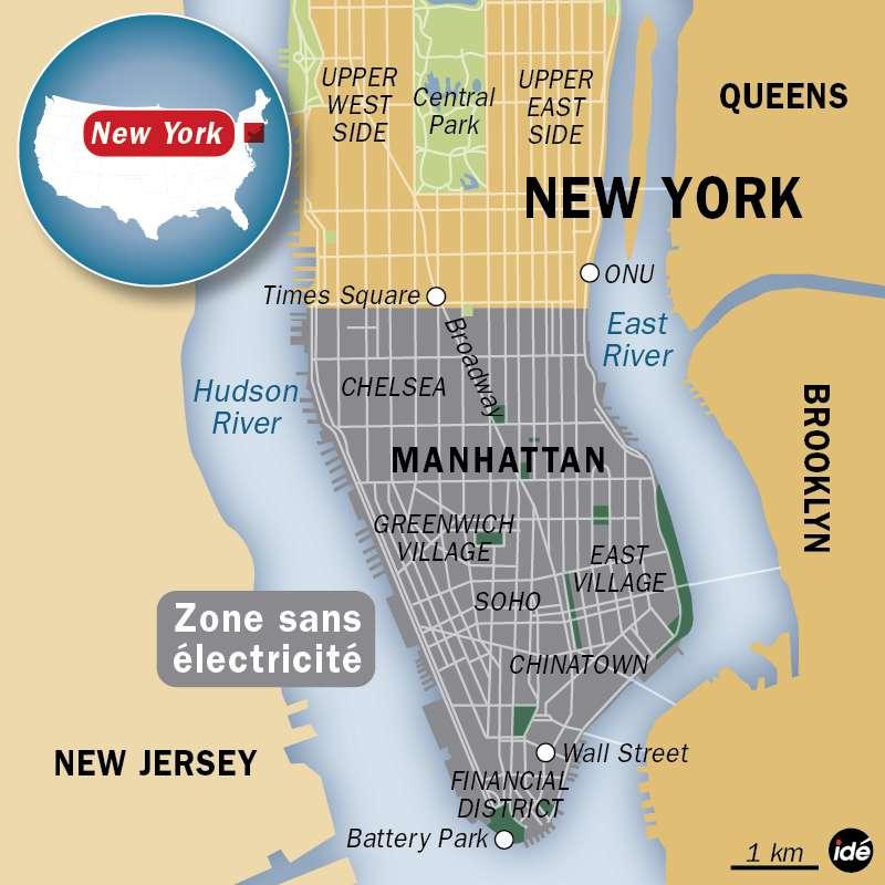 Près de 20 millions de New-Yorkais sont actuellement privés d'électricité. C'est la partie sud du quartier de Manhattan qui, sous les inondations, a été la plus touchée. © idé
