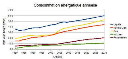 Illustration 3: Consommation énergétique mondiale en PWh par sources (1PWh = 1015Wh). EIA, International Energy Outlook 2009, http://www.eia.doe.gov/oiaf/ieo/index.html