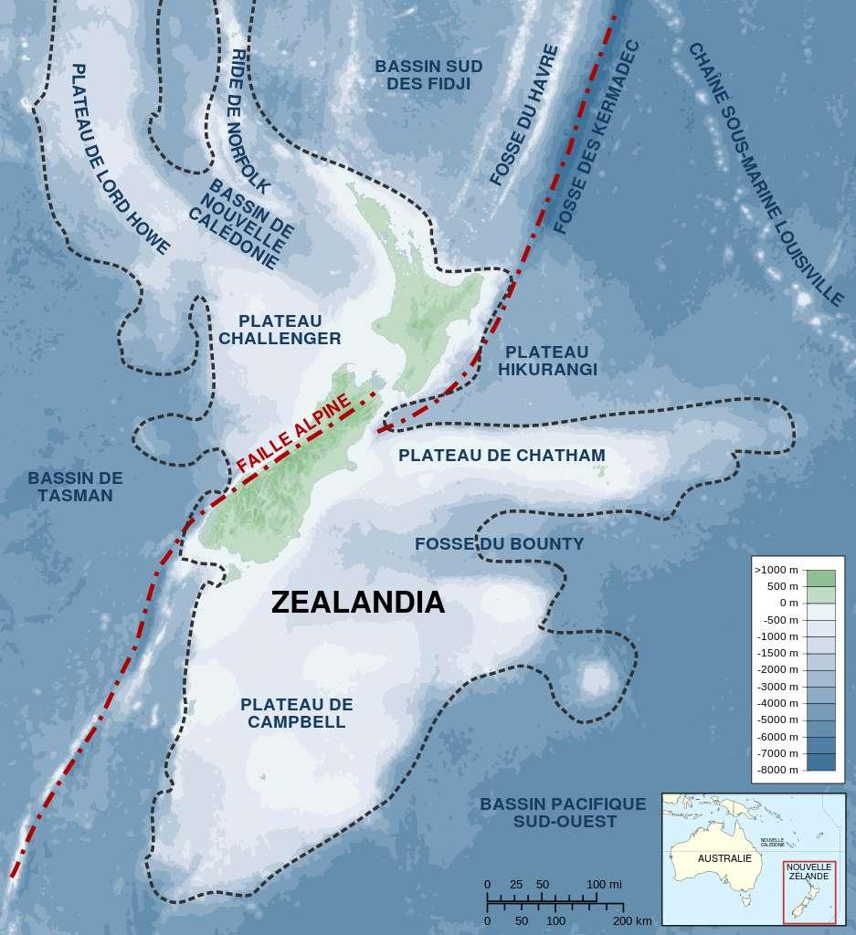 Une partie de la topographie et de la géologie de Zealandia. © Sémhur, Wikimedia Commons
