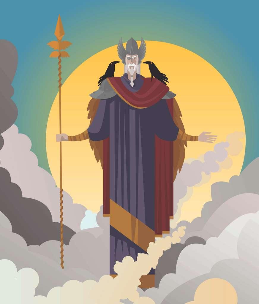 Odin, père de Thor, est le dieu principal de la mythologie nordique. Principalement, il est le dieu des morts, de la victoire et du savoir. Mais, dans une moindre mesure, il est également considéré comme le patron de la magie, de la poésie, des prophéties, de la guerre et de la chasse. © Matiasdelcarmine, Adobe Stock