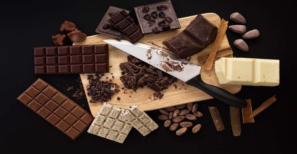 Tablettes de chocolat, blanc, noir, au lait. © Valentin Valkov, Shutterstock