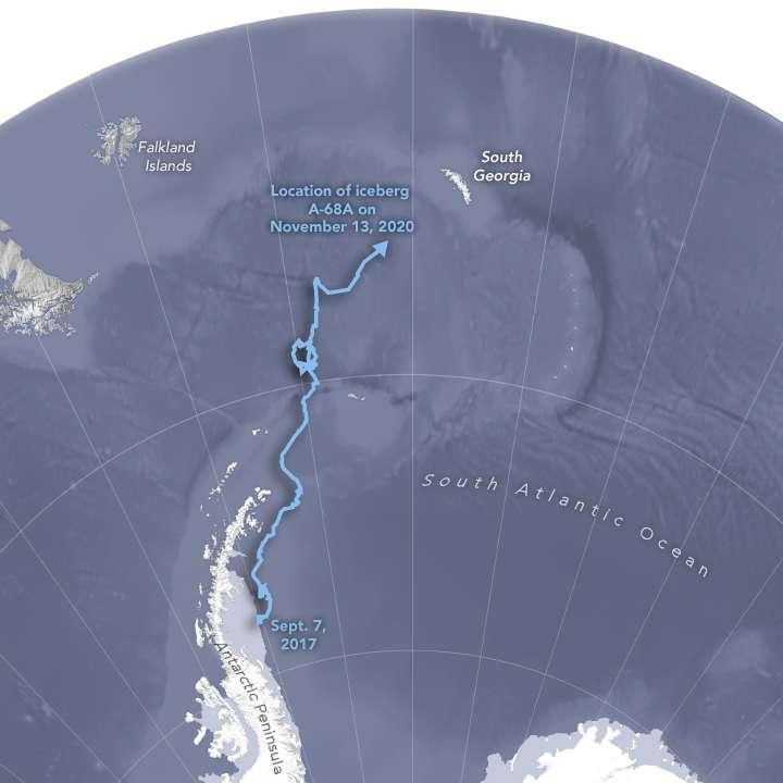 Le parcours de l'iceberg géant A68 depuis 2017. © Nasa