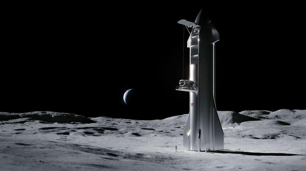Dans sa version transport de fret, le Starship de SpaceX sera capable de livrer plus de cent tonnes de matériel sur la Lune, dont des rovers. © SpaceX