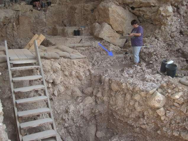 Les os brûlés découverts dans la grotte Qesem auraient été chauffés à plus de 500 °C. Les fragments identifiés appartenaient à 4.740 animaux différents, principalement des grands mammifères. Sur l'image, la flèche bleue indique la position du foyer. © Institut Weizmann
