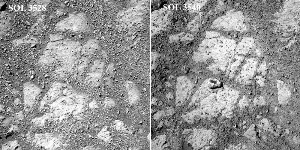 Comparaison entre le sol (jour martien) 3.528 et le sol 3.540 sur un même site étudié par le rover Opportunity. Que s'est-il passé entre les deux moments pour qu'un caillou de la taille d'un poing ait fait son apparition ? © Nasa, JPL
