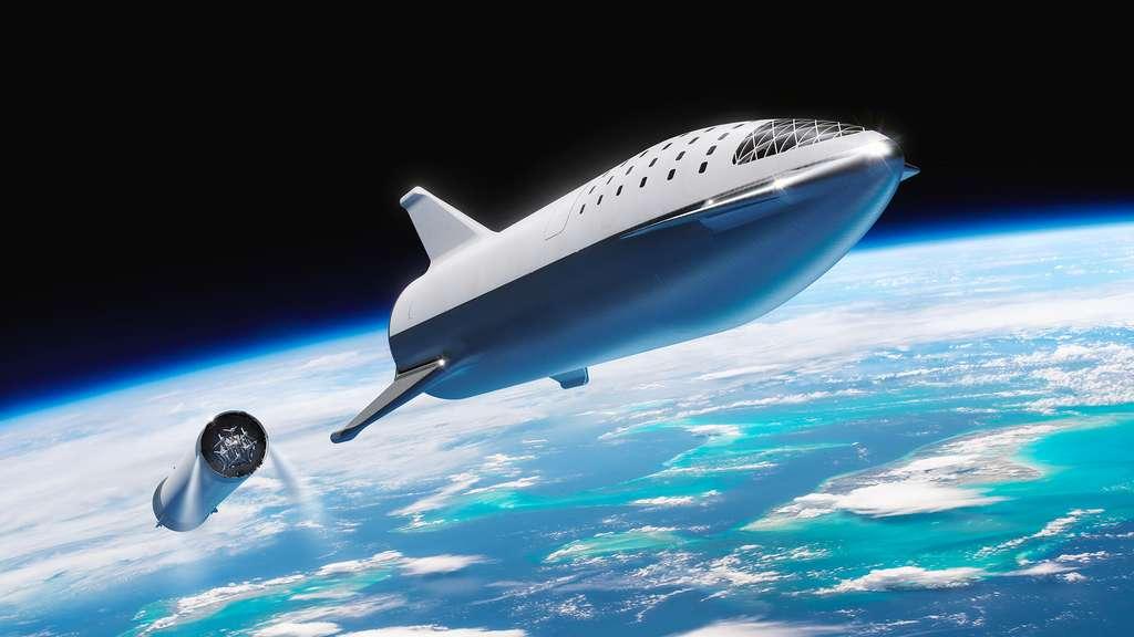 Le Starship de SpaceX se séparant du Super Heavy (l'étage utilisé pour le lancement). © SpaceX